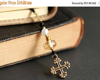 SUMMER SALE Christian Bookmark. Beaded Bookmark. Christian Cross Bookmark. Amber Bookmark. Cross Book Charm. Bible Bookmark. Handmade Bookma