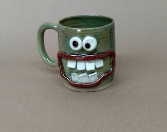 Dieter's Coffee Cup.  Diet Mug. Extra Large 14-16 Ounces Pottery Tankard. Hot Green Tea Cup. Entertaining Gift Ideas for Dieting Face Mug.