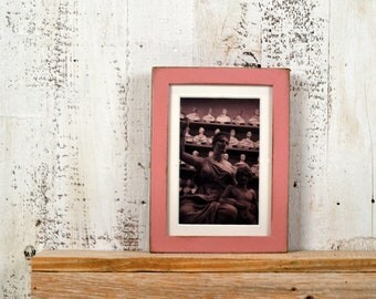 "5x7"" Picture Frame in PeeWee Style on Oak with Vintage Rose Pink Finish IN STOCK - Same Day Shipping - Gallery Frame 5 x 7 Baby Girl Pink"