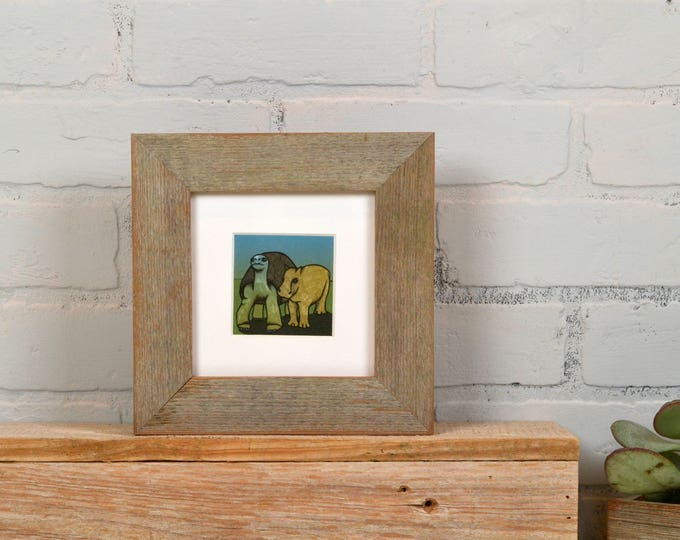 5x5 Square Picture Frame in Rustic Natural Reclaimed Cedar - IN STOCK - Same Day Shipping - Unique Rustic Picture Frame 5 x 5