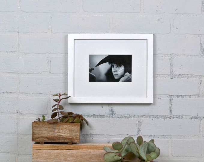 8x10 Picture Frame Modern Solid White Finish in Peewee Style - IN STOCK - Same Day Shipping - 8 x 10 Photo Frame White