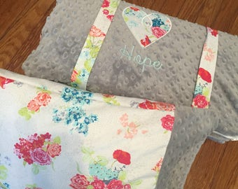 Ships Fast- Nap Mat Cover- Personalized Flora White Nap Mat with Ruffled Blanket
