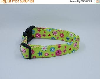 ON SALE Loving Lime Floral Flower Pink Blue and White Flowers and Hearts on Green Dog Collar