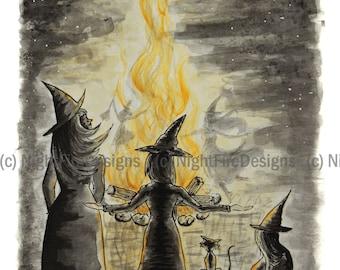 "Fantasy Art Print - ""Witches Gathering"" 5x7"