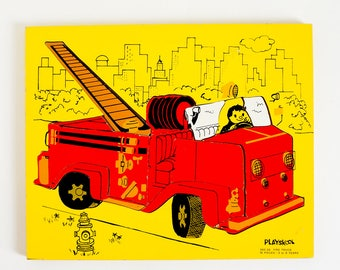 Vintage 1960s Playskool Fire Truck Wood Frame Tray 15 Piece Puzzle #360-26 VGC / Car Transportation Yellow Red Retro Collectible Toy