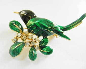 Vintage 1960's exquisite Figural Bird on Branch Estate Pin - cluster clear rhinestones and so lovable enamel work -- art.839/4