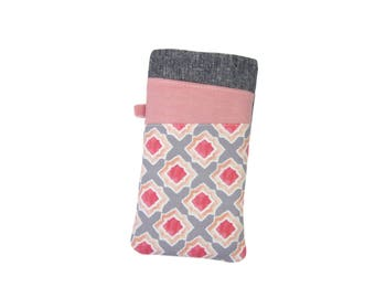 Geometric iPhone Sleeve, SE Case, iPhone 7 Cover, iPhone 7 Plus Case, iPhone 6S, Grey and Pink Fabric Phone Sleeve, iPhone 5 Pouch
