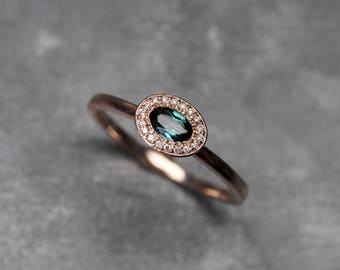 Delicate Diamond Halo Engagement Ring Blue-Green Tourmaline 14K Rose Gold Sparkly Sideways Oval Bridal Band Her Teal Gemstone - Mermaid Halo