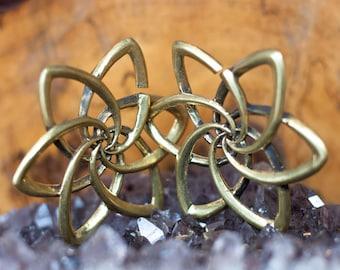 Brass geometrical lotus Ear Weights, Brass gauge, Gauge earrings, Stretcher earrings, Brass stretcher, Tribal jewellery, Boho jewelry, TRIBU