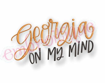 Georgia on My Mind -  Digital Machine Embroidery File -Instant Download