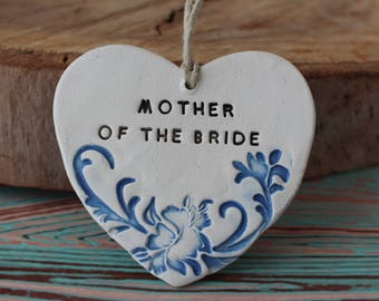Heart ornament Ceramic ornament Mother of the bride gift from daughter Mother of the bride gift from groom Mother of the groom gift