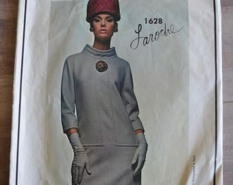 Vogue Paris Original 1628 Laroche 1628 One Piece MOD Dress Size 14 Cut / Complete Vintage 1960's Fashion