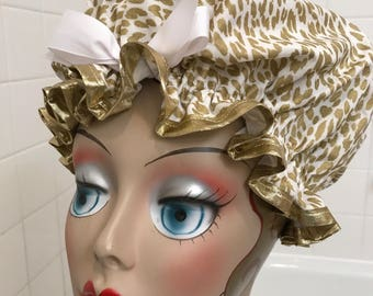 "Shower Cap Women's Machine Washable Waterproof ""Rawr Gold"""