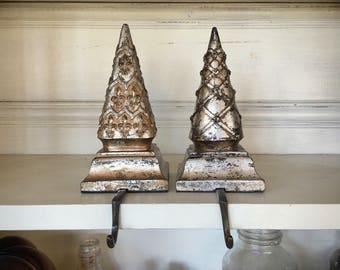 Distressed Finial Christmas Stocking Holders for Mantle, Rustic Christmas Decor