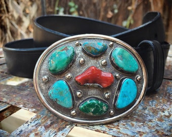 Signed Navajo Coral and Turquoise Belt Buckle for Women or Men, Native American Indian Jewelry