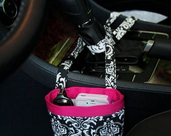 On Sale CAR CELLPHONE CADDY, Black Damask, Cell Phone Holder, Sunglasses Case, Mobile Accessories, Car Accessories, Smartphone Case, Beach C