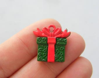 4 Christmas gift  present charms green and red tone CT239