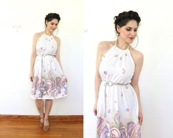 Seashell Dress / 70s Dress / 1970s White Seashell Border Print Halter Sun Dress