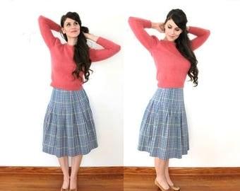 ON SALE 60s Plaid Skirt / 1960s High Waisted Colorful Plaid Pleated Skirt