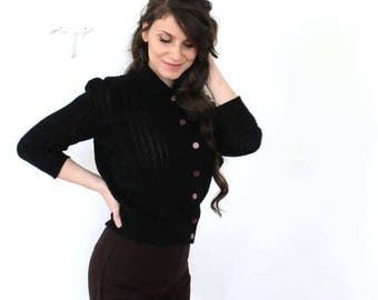 ON SALE Black 1950s Cardigan / 50s Black Knit Cardigan
