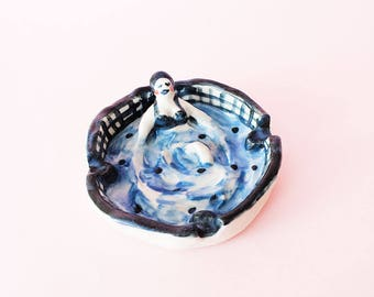 PREORDER - Pool Girl Ashtray, Pool Girl Trinket Dish, Pool Girl Hand-Built Ceramic Ashtray