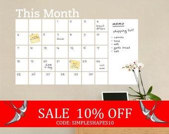 Summer Sale - Dry Erase Wall Calendar with Memo - Vinyl Wall Decal
