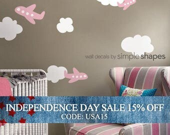 Independence Day Sale - Airplanes with Clouds Decal Set - Kids vinyl Wall Sticker