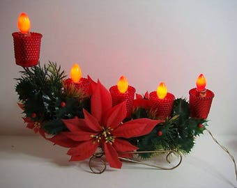 Christmas Poinsettia Candelabra Vintage Sleigh Poinsettia Lighted Electric Christmas Greenery Red and Green 5 Bulb Candelabra