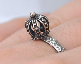 SILVER PRINCESS RING handmade floral band oxidized sterling silver crown ring, oxidized silver, antiqued silver