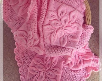 BABY KNITTING PATTERN - Crib//Pram//Cover Blanket Afghan shawl Christening Download - Embossed leaves