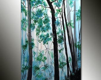 """Original Landscape Painting Woodland Trees Winter Day Gallery Fine Art By Henry Parsinia Ready To Hang 36"""""""