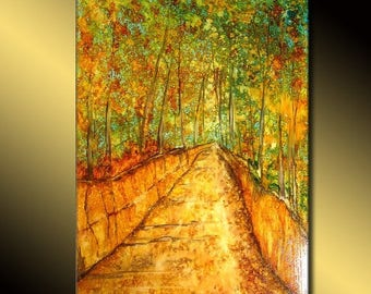 Original Abstract Painting Modern Landscape by HENRY PARSINIA Large 36x24