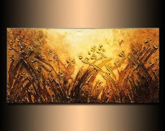 Textured Landscape Abstract Painting Modern Canvas Abstract Contemporary palette Knife Landscape by Henry Parsinia