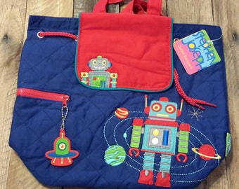 Backpack, Stephen Joseph quilted robot backpack,personalized boyu backpack, diaper bag, baby shower gift