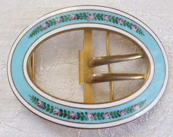 Vintage Belt Buckle Blue Enamel Floral Design
