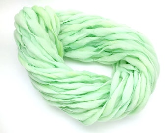 Handspun mint yarn, 50 yards thick and thin in hand dyed merino wool - 3 ounces/ 87 grams