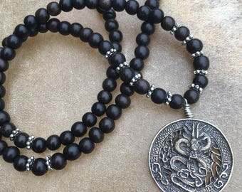 Tibetan Dragon Mens 108 Bead Mala Necklace Womans Mala Beads Dragon Necklace Martial Arts Black Ebony Dragon Mala