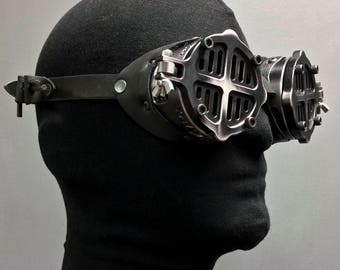 Machined Aluminum Flip Cover Goggles -War - Black