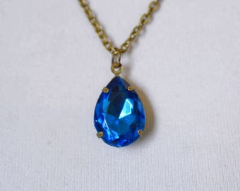 Sapphire Blue Rhinestone Necklace, Vintage Blue Glass, Retro Hollywood Estate Style Jewelry