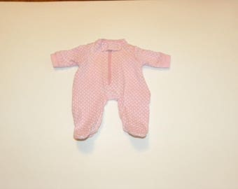 Pink and White Polka Dot Footed Sleeper - 12 inch doll clothes
