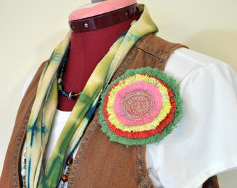 """Dyed Fringed Denim Brooch PIN CLIP - Green Red Yellow Pink Denim Circle Corsage Brooch 4"""" Pin - 63"""