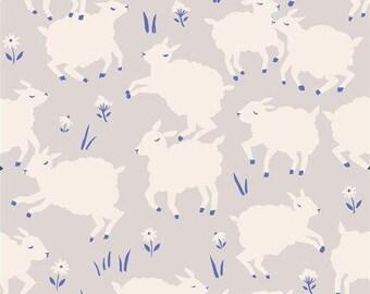 Little Lambs Knit Fabric - Gray Cotton Knit - Organic Fabric - Fabric by the Yard - Birch Fabrics - Animal Fabric - Farm Themed Fabric