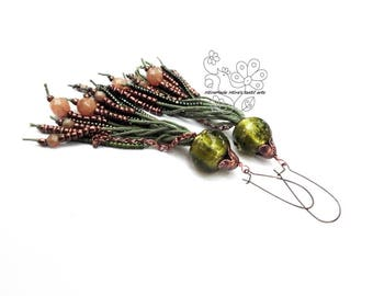 Green long fringe earrings tassel statement earrings bohemian fringes boho style gift for girlfriend Christmas giftideas