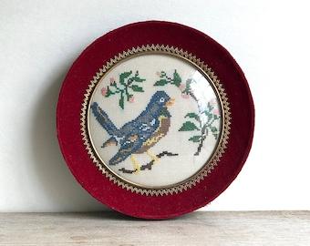 Vintage Cross Stitch  Bluebird Velvet Framed Round Domed Glass Cottage Chic Boho