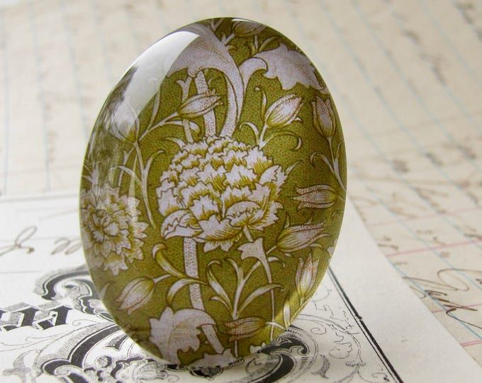 William Morris collection - green artichoke cabochon, 40x30mm glass oval cabochon, wallpaper print, handmade in this shop, lime green