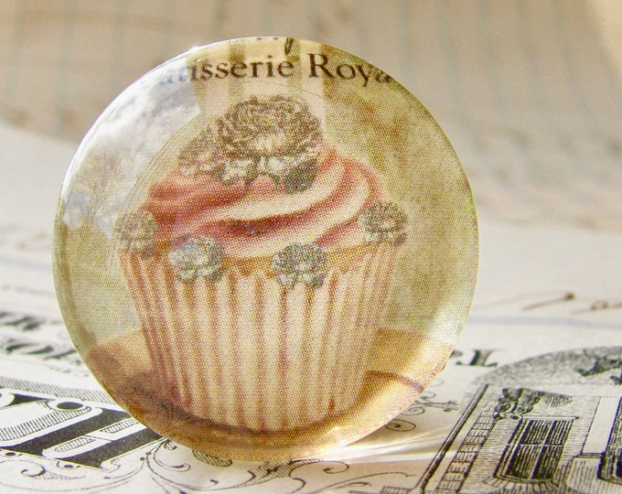 Vintage orange cupcake, handmade glass cabochon, round 25mm cabochon, 1 inch circle, Bountiful Bakery collection, vintage kitchen, baking