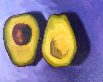 Avocado Still Life Painting -  9x12 - Oil painting by Sharon Schock