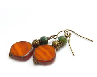 Orange Boho Dangle Earrings - Picasso Czech Glass - Blue/Green Earrings - Bohemian Hippie Earrings