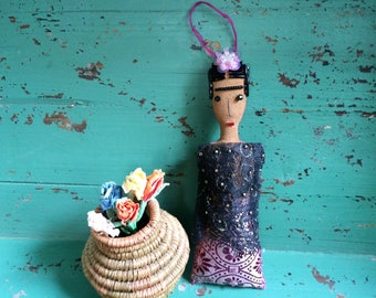 Frida Kahlo Doll - Frida Kahlo Art Doll - Frida Doll - Folk Art Inspired Ornament - Frida Ornament - Folk Art Doll - Holiday Ornament