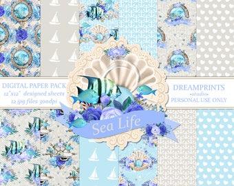 Digital Paper Pack   Digital Papers   Scrapbooking Papers   Design Sheets   Floral Digital Paper   12x12 300dpi   INSTANT DOWNLOAD